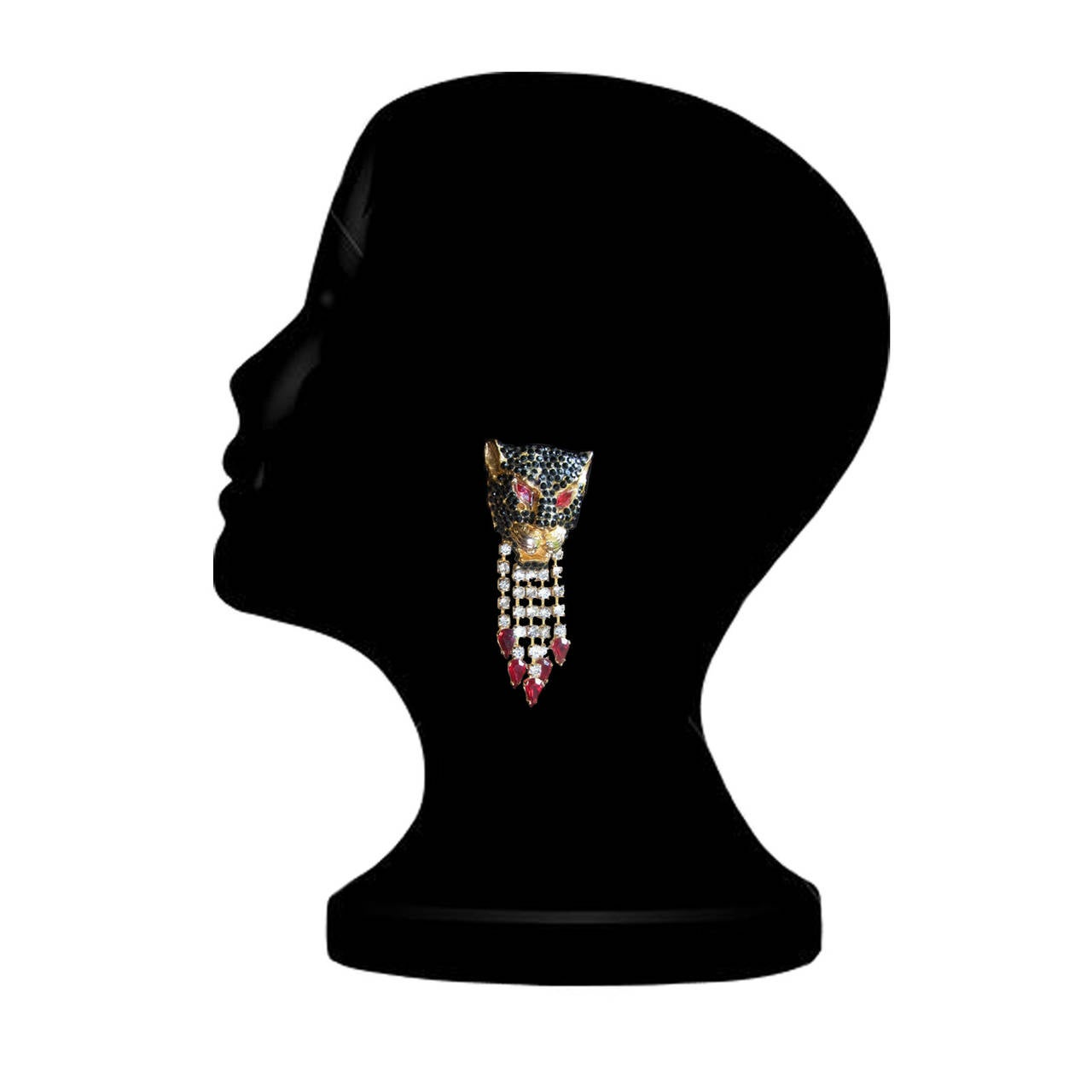 Gianni Versace Black Panther Pendent Head Clip 1990's 2