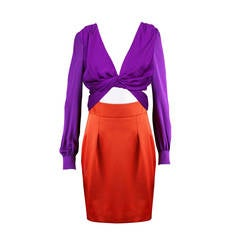 Gucci Orange Purple Colour Block Dress S/S 2011