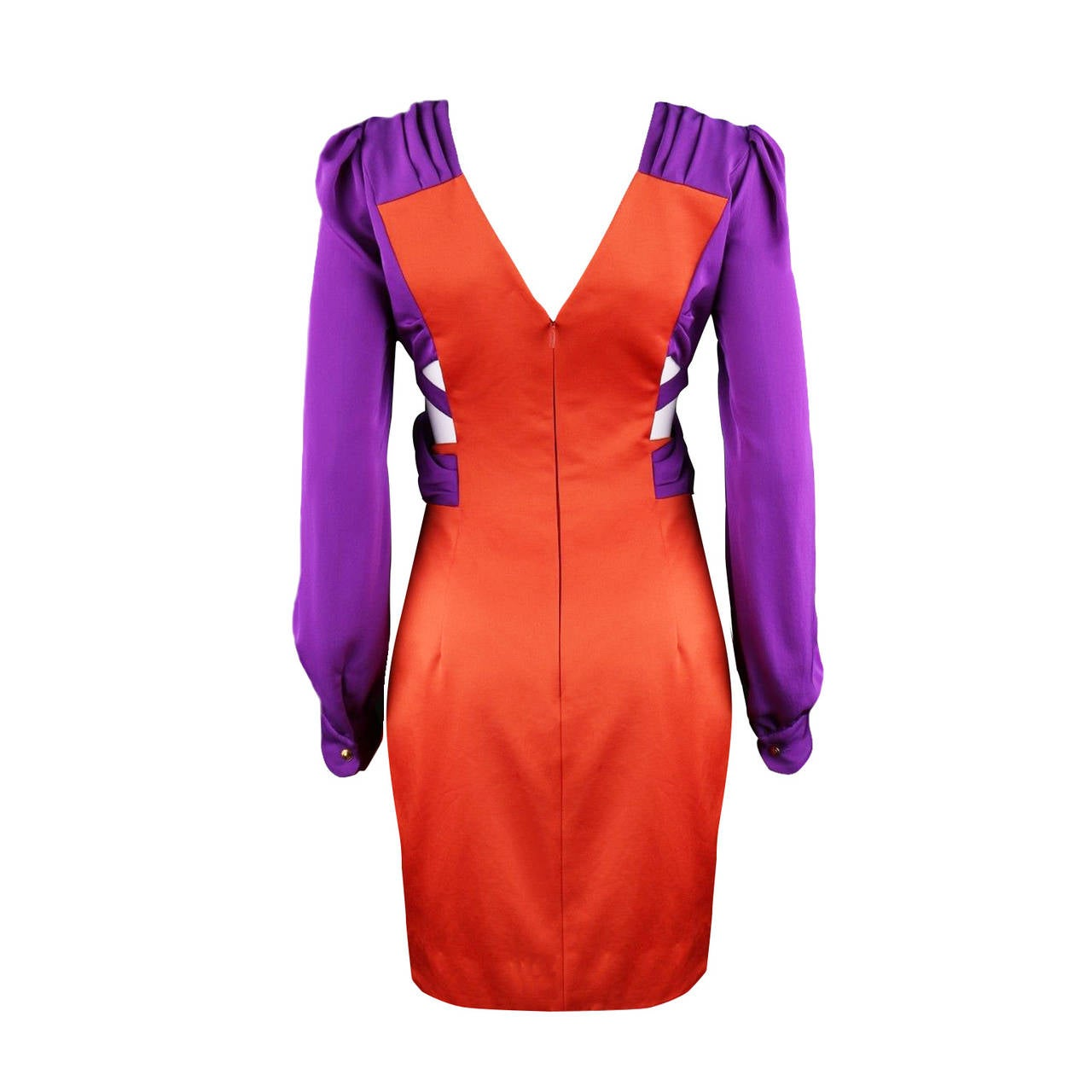 Gucci purple orange colour block cut out dress from spring / summer 2011. This Iconic dress was worn by Lara Stone, Jennifer Lawrence and numerous celebrities, featured on cover magazines such as Vogue, Marie Clair, Harpers Bazaar. Original size :