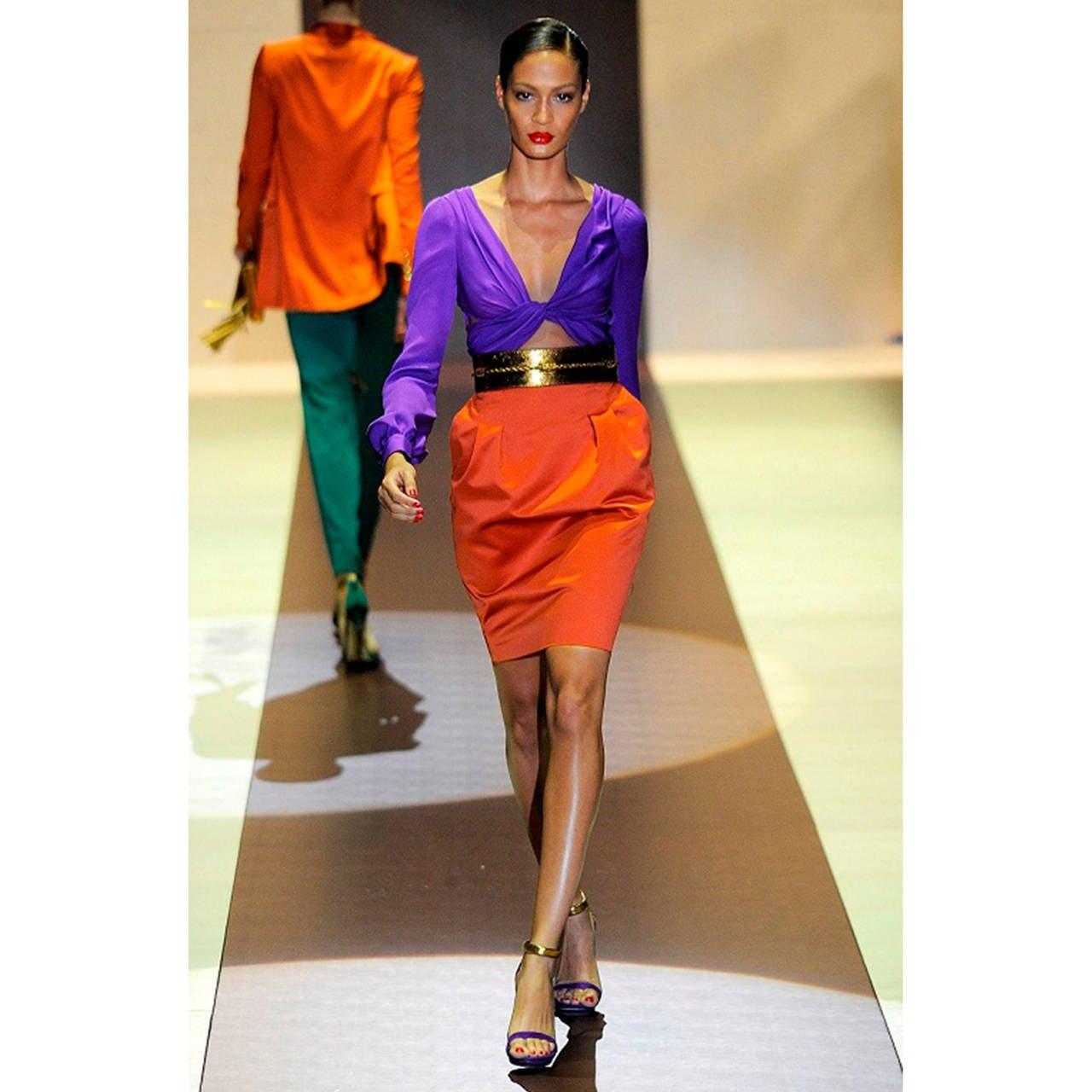 Gucci Orange Purple Colour Block Dress S/S 2011 In Excellent Condition For Sale In Berlin, DE