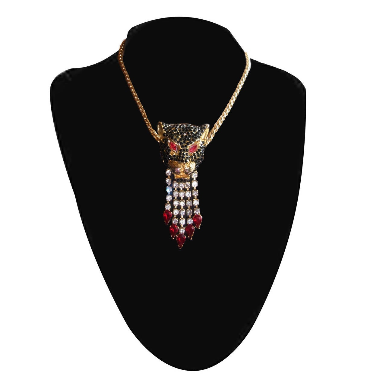 Gianni Versace Black Panther Pendent Head Clip 1990's In Excellent Condition For Sale In Berlin, DE