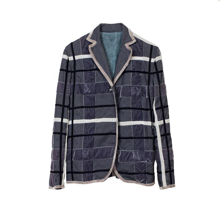 Voyage Jacket Velvet Ribbon Plaid 1990's For Sale at 1stdibs