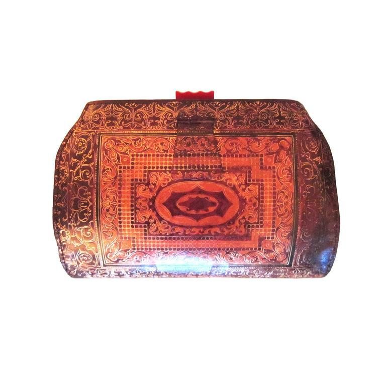 The Deco Haus Tagged Color Red: Art Deco Leather Embossed Clutch Bag Bakelite 1920's For