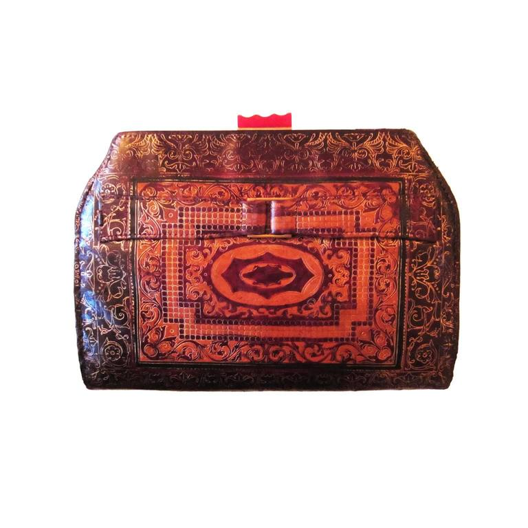 Art Deco Leather Embossed Clutch Bag Bakelite 1920's