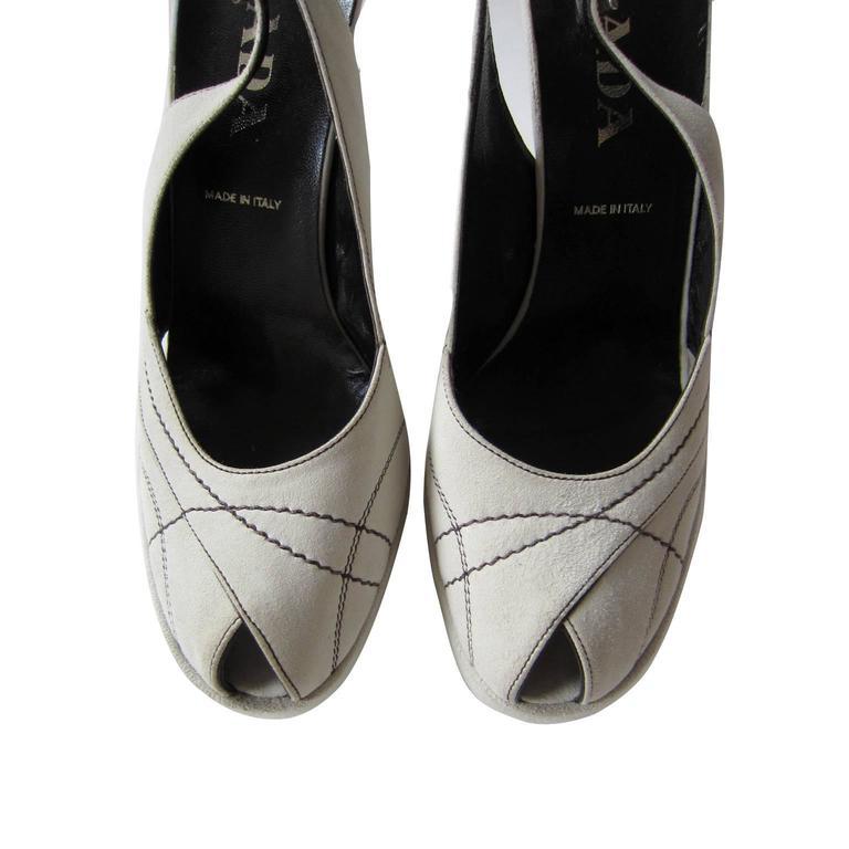 Women's Prada Peep Of White Heel Suede Stitch For Sale
