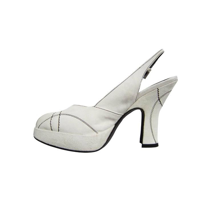 Gray Prada Peep Of White Heel Suede Stitch For Sale