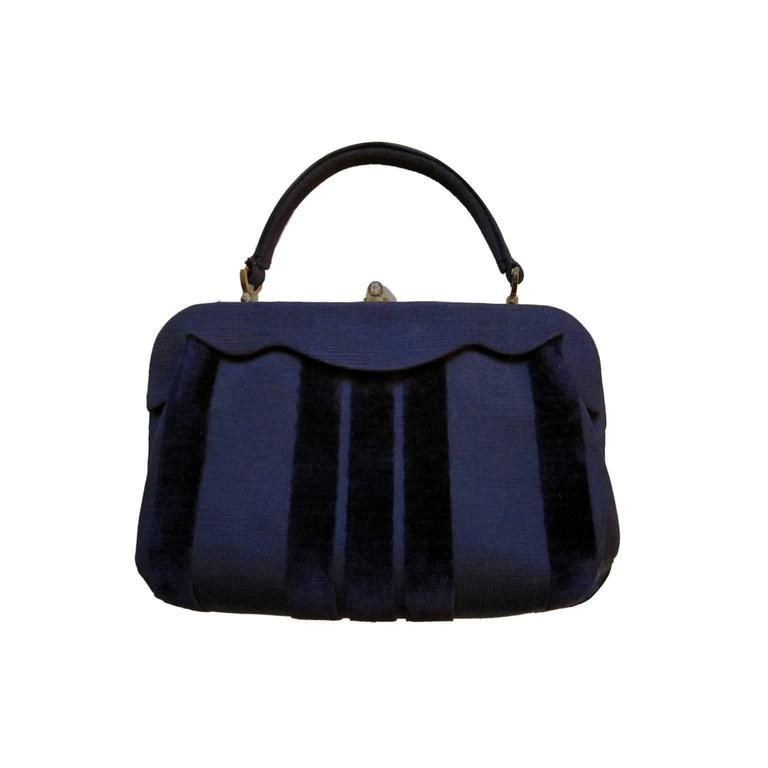 Roberta Di Camerino Venice Purple Velvet Bag Purse 1960s