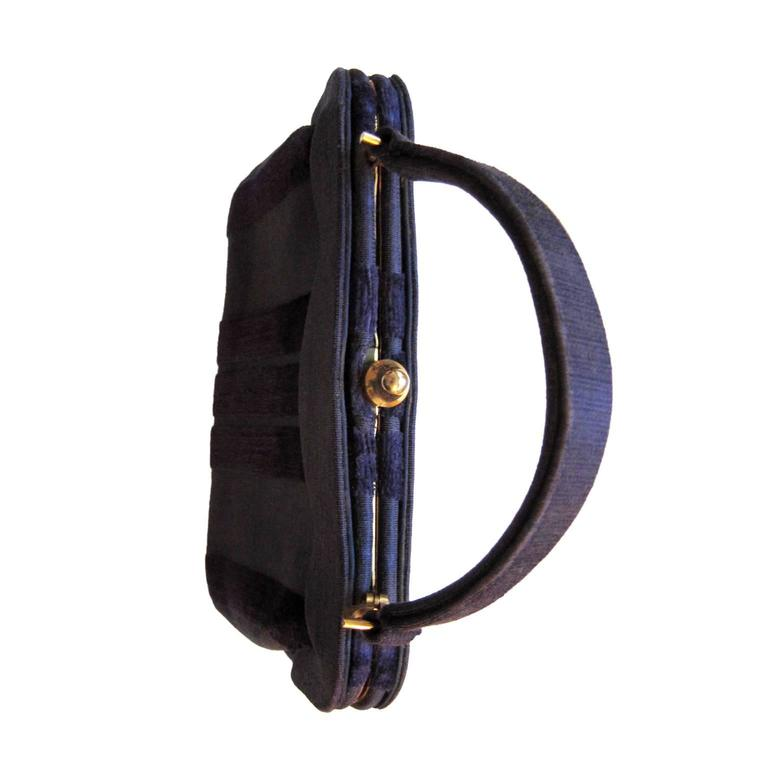 Black Roberta Di Camerino Venice Purple Velvet Bag Purse 1960s  For Sale