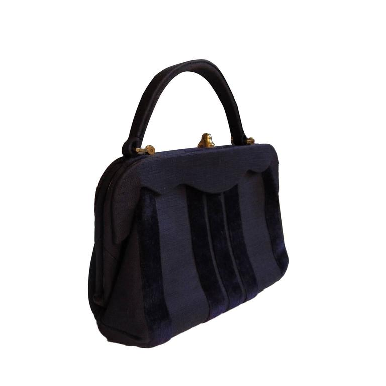 Roberta Di Camerino Venice Purple Velvet Bag Purse 1960s Vynze