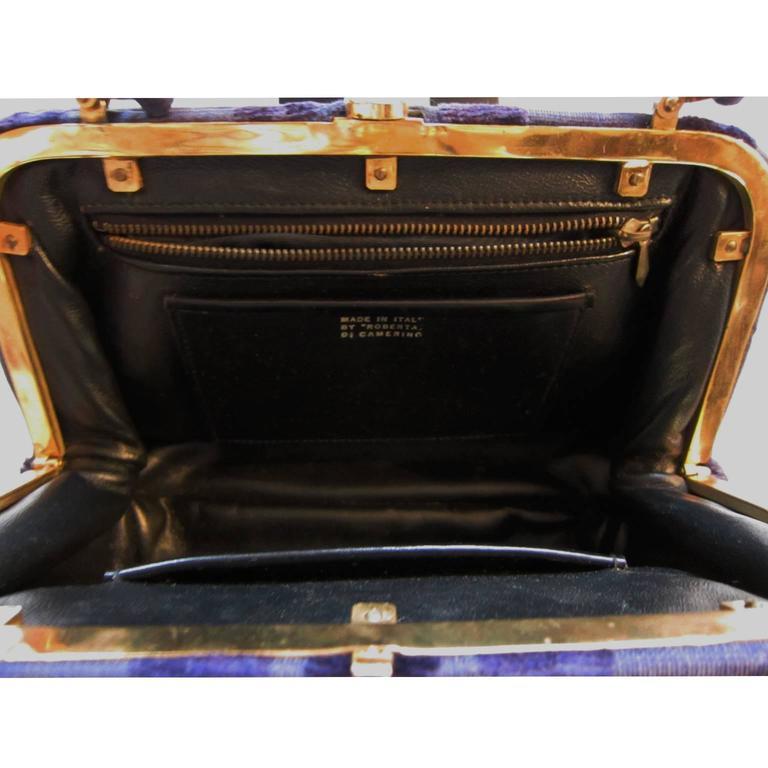 Roberta Di Camerino Venice Purple Velvet Bag Purse 1960s  In Excellent Condition For Sale In Berlin, DE