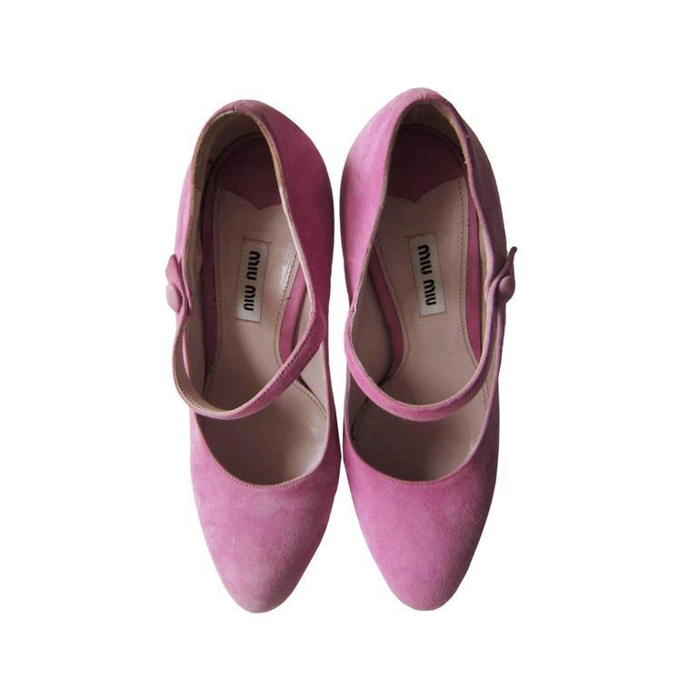 Miu Miu Pink Fine Suede Platform Heels 4