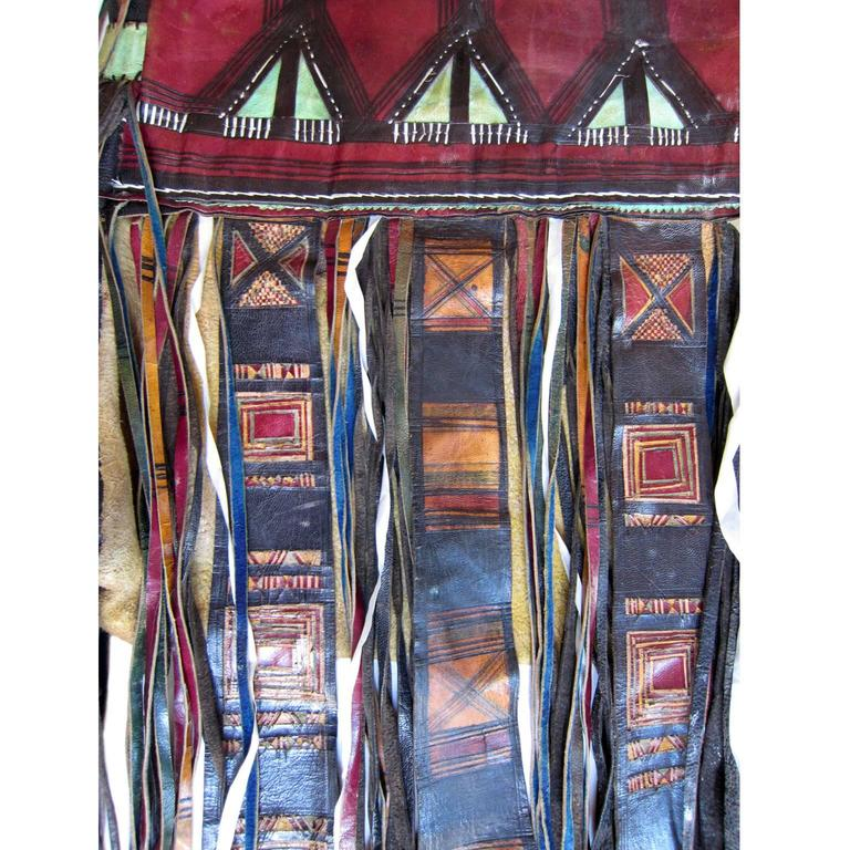 Italian Leather Furniture South Africa: African Tuareg Leather Tribal Pouch Fringe Bag For Sale At