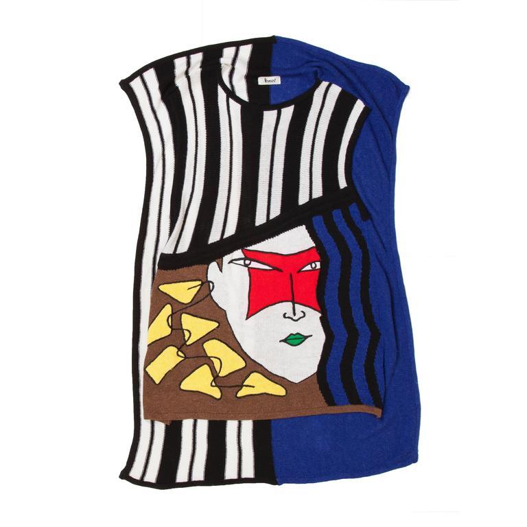 Kansai Yamamoto Kabuki Knit Dress 1980s  For Sale 1