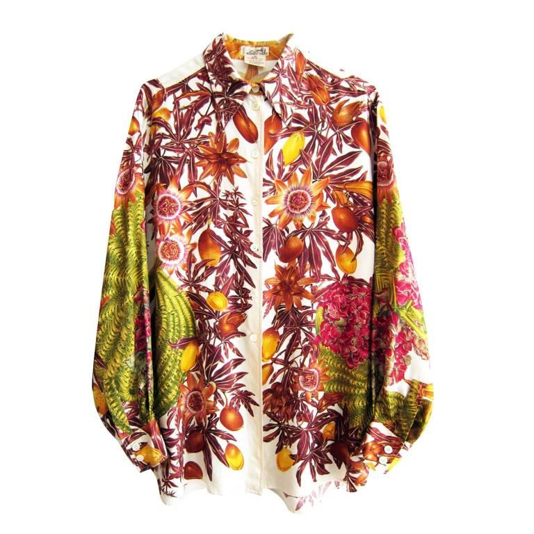 Hermes Paris Silk Blouse Passiflore & Hydrangea