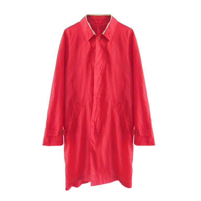 Helmut Lang Bi Colour Stripe Detail Red Nylon Coat 1997