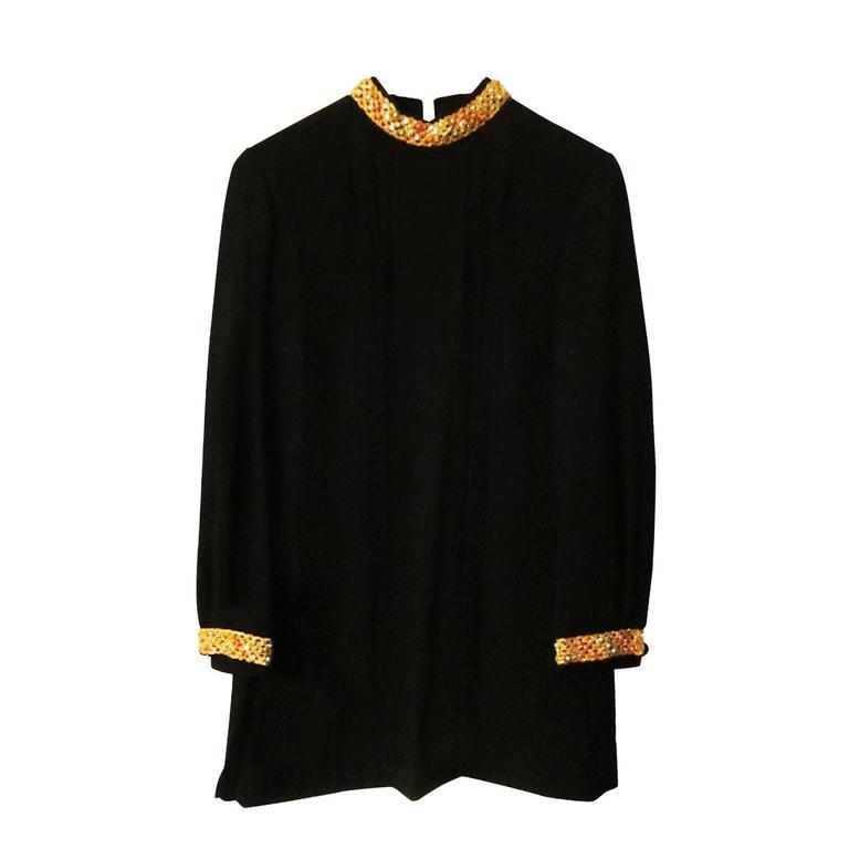 Black Mini Dress Golden Crochet 1960s