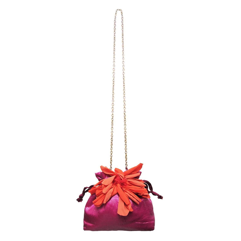 Lanvin Pink Purse Bag Orange Flower At 1stdibs
