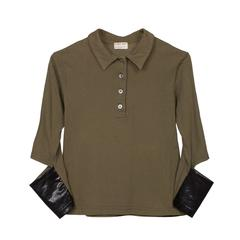 Helmut Lang Khaki Top Black Sleeve Cut 1996