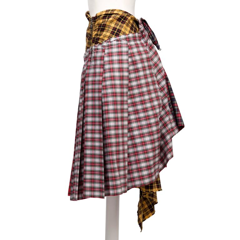 Black Comme des Garcons Plaid Skirt AD 2005 For Sale