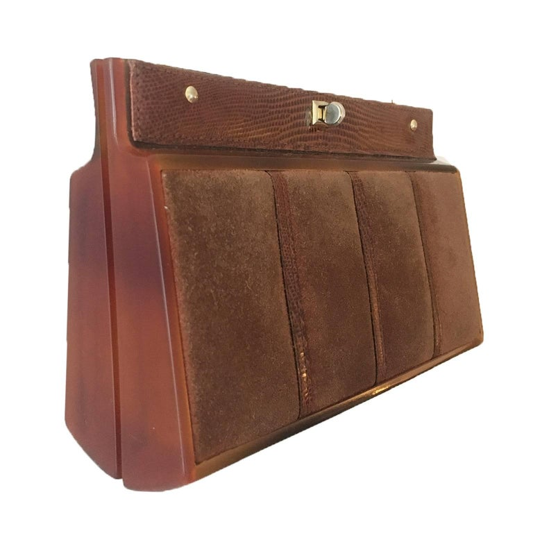 Suede Chain Shoulder Box Clutch Purse 1970s