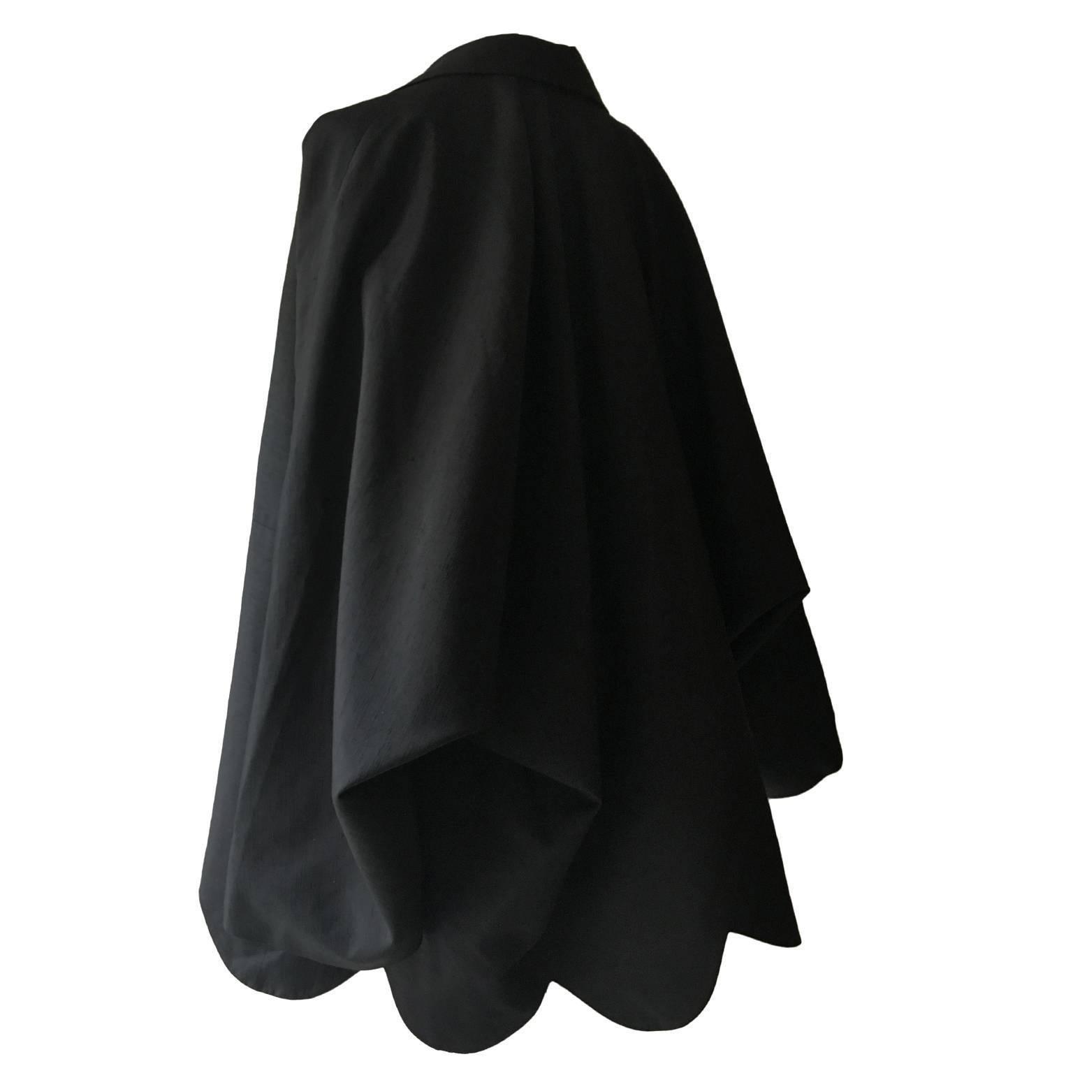 Comme des Garcons Dolman Sleeve Black Coat 1980s
