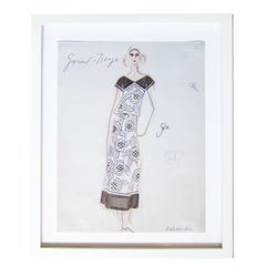 Karl Lagerfeld Original Sketch Croquis Flower Dress For Chloe 1970