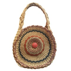 Woven Twirl Basket Round Purse Bag 1920's
