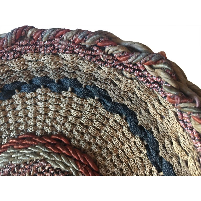 Brown Woven Twirl Basket Round Purse Bag 1920's For Sale