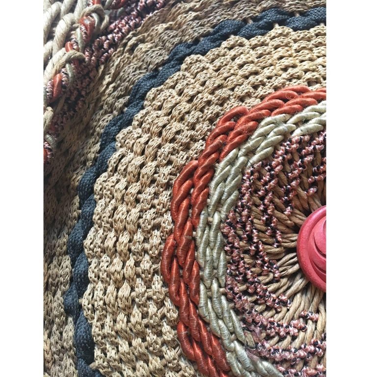 One of a kind beautiful multi colour hand woven paper rope / natural rope purse from circa 1920's.  No lining.  Measurements : 25 x 25 x 8 cm Handle length : 45 cm