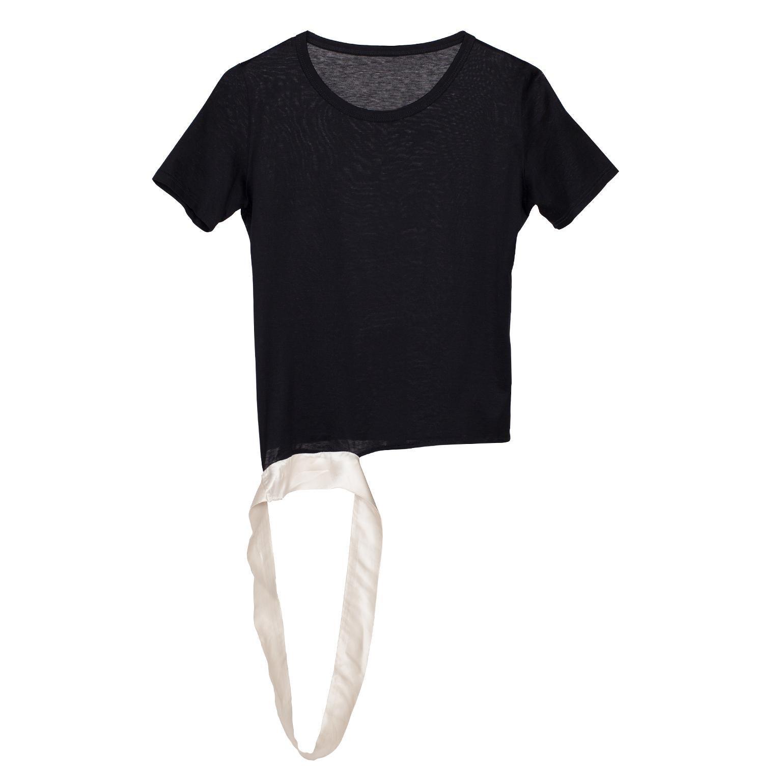 Helmut Lang Black T shirt Extended Hem Detail SS 1997