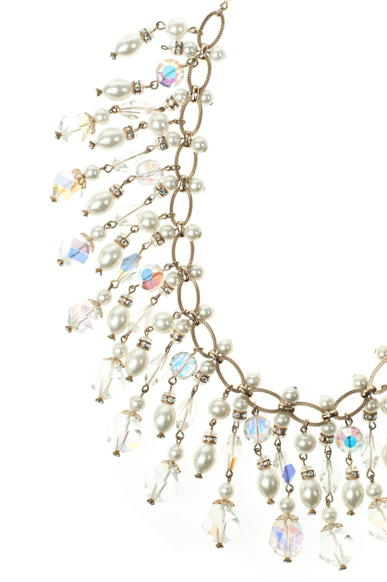 Vintage Vendome Crystal & Pearl Bib Necklace In Excellent Condition For Sale In London, GB