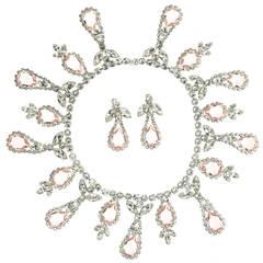 Vintage Vendome Peach Rhinestone Necklace Set