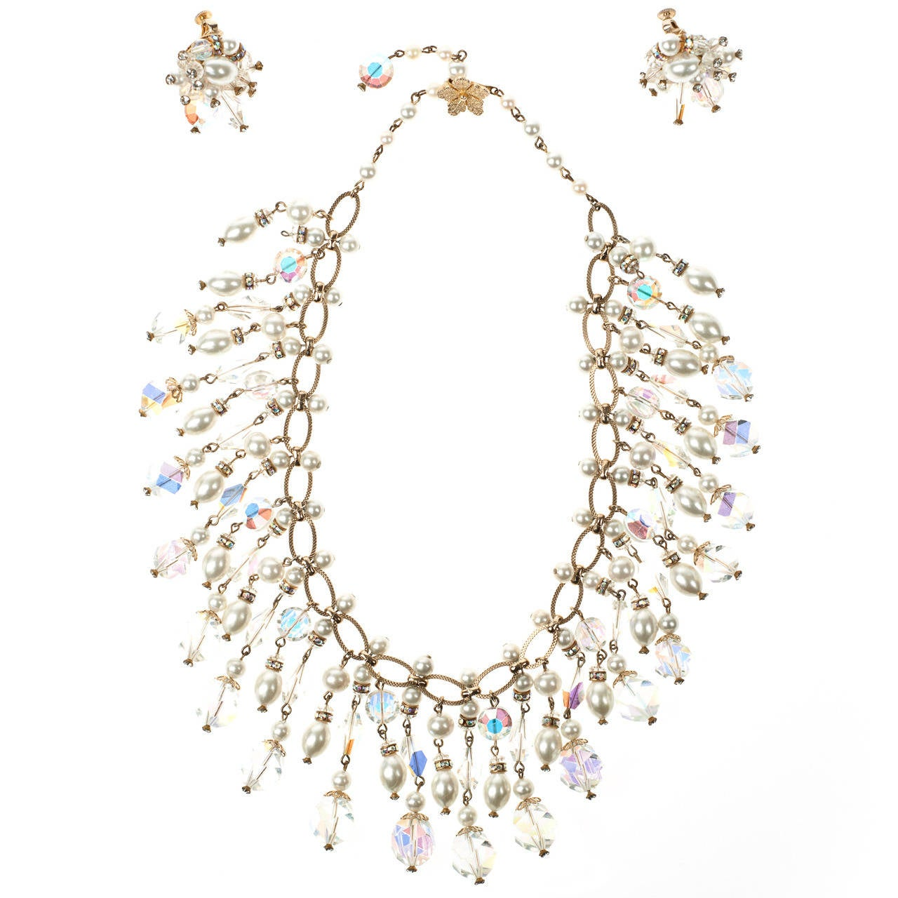 Vintage Vendome Crystal & Pearl Bib Necklace For Sale