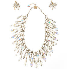 Vintage Vendome Crystal & Pearl Bib Necklace