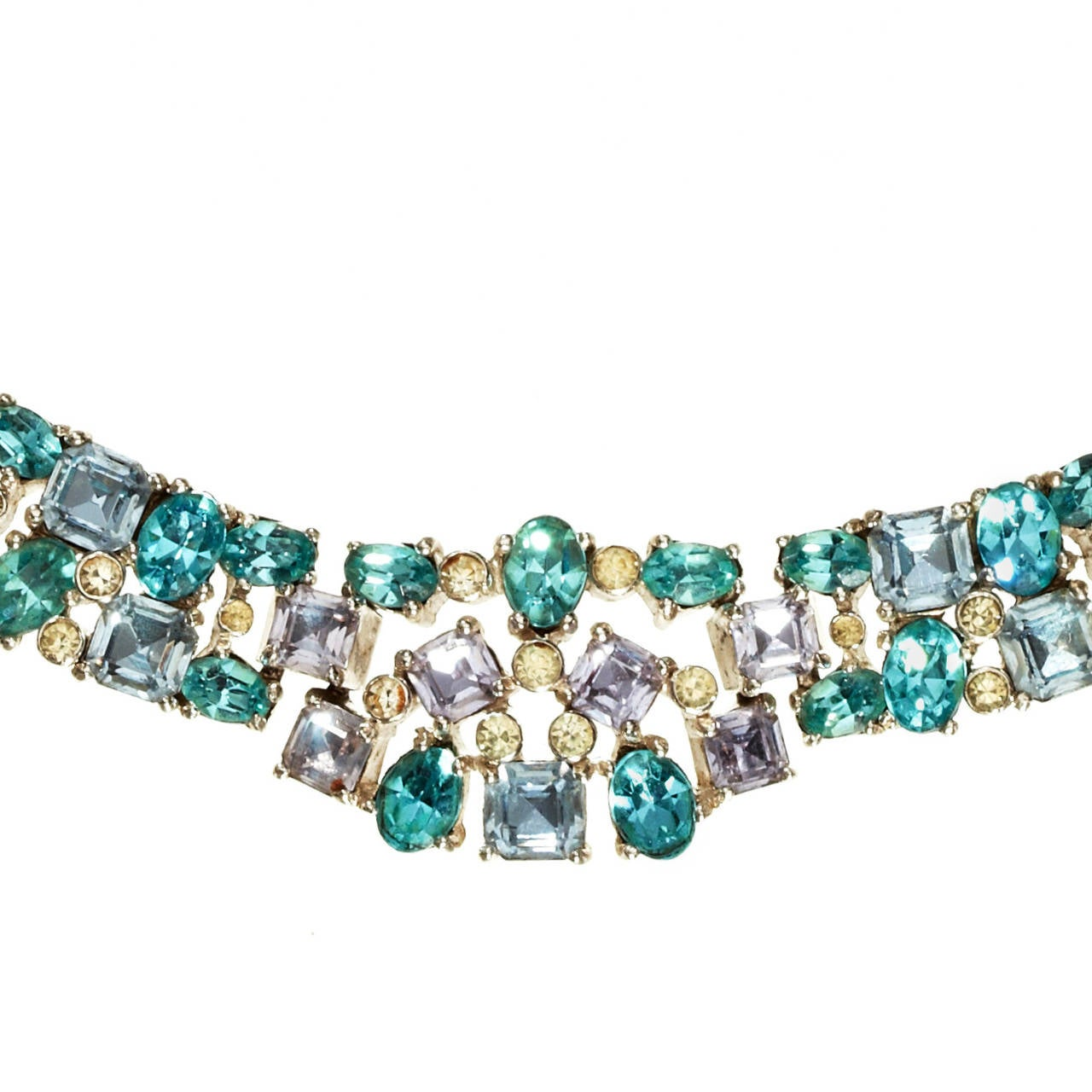 A stunning Jomaz articulated rhinestone chocker necklace, designed by Joseph Mazer. Made up of oval and square cut rhinestones in shades of pale blue, cornflower, turquoise and lilac, and small crystal rhinestones set into a graduated rhodium plated