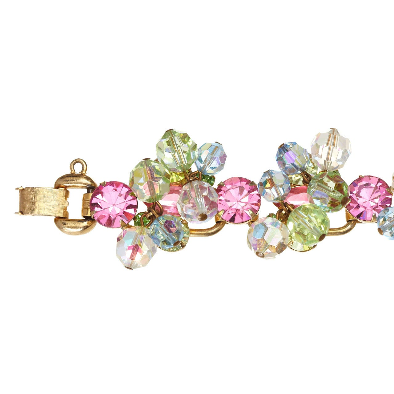 A delightful bracelet by Juliana featuring clusters of pastel coloured Swarovski rhinestones in Pink, Green, Yellow, Blue and Crystal AB.