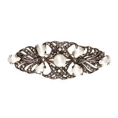 Vintage French Art Deco Marcasite & Pearl Brooch