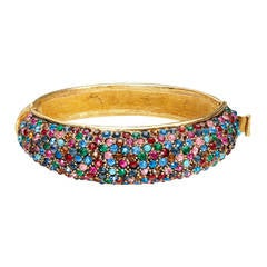 Vintage Vendome Gold & Multicoloured Rhinestone Bangle