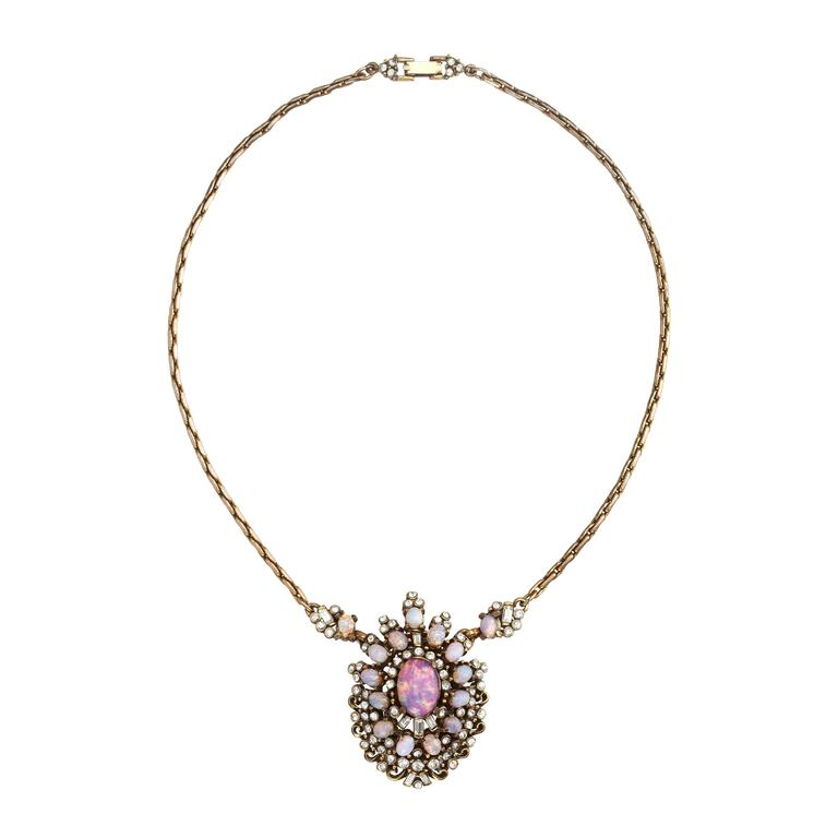 Magical Gold tone faux Opal pendant necklace by Hollycraft c.1950′s.