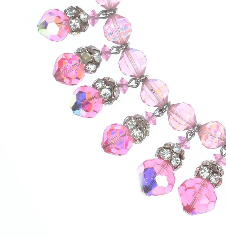 A stunning Chocker composed of Vintage Pink Swarovski AB faceted crystals and Silvertone rhinestone bead caps, c.1955.