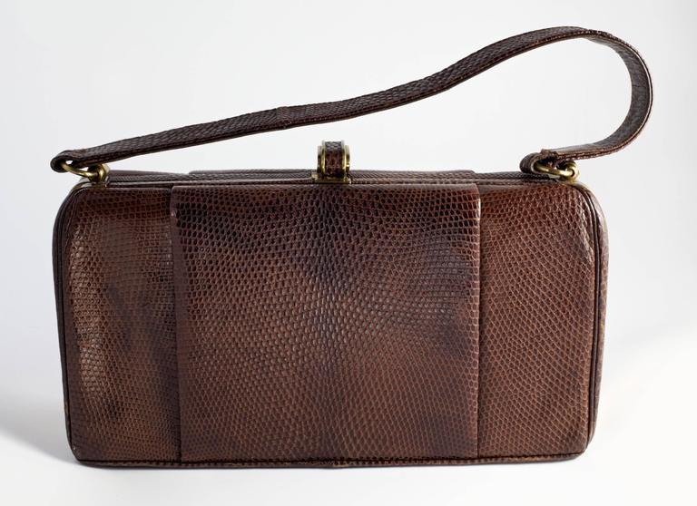 Brown Vintage 1940's Fassbender Handbag For Sale