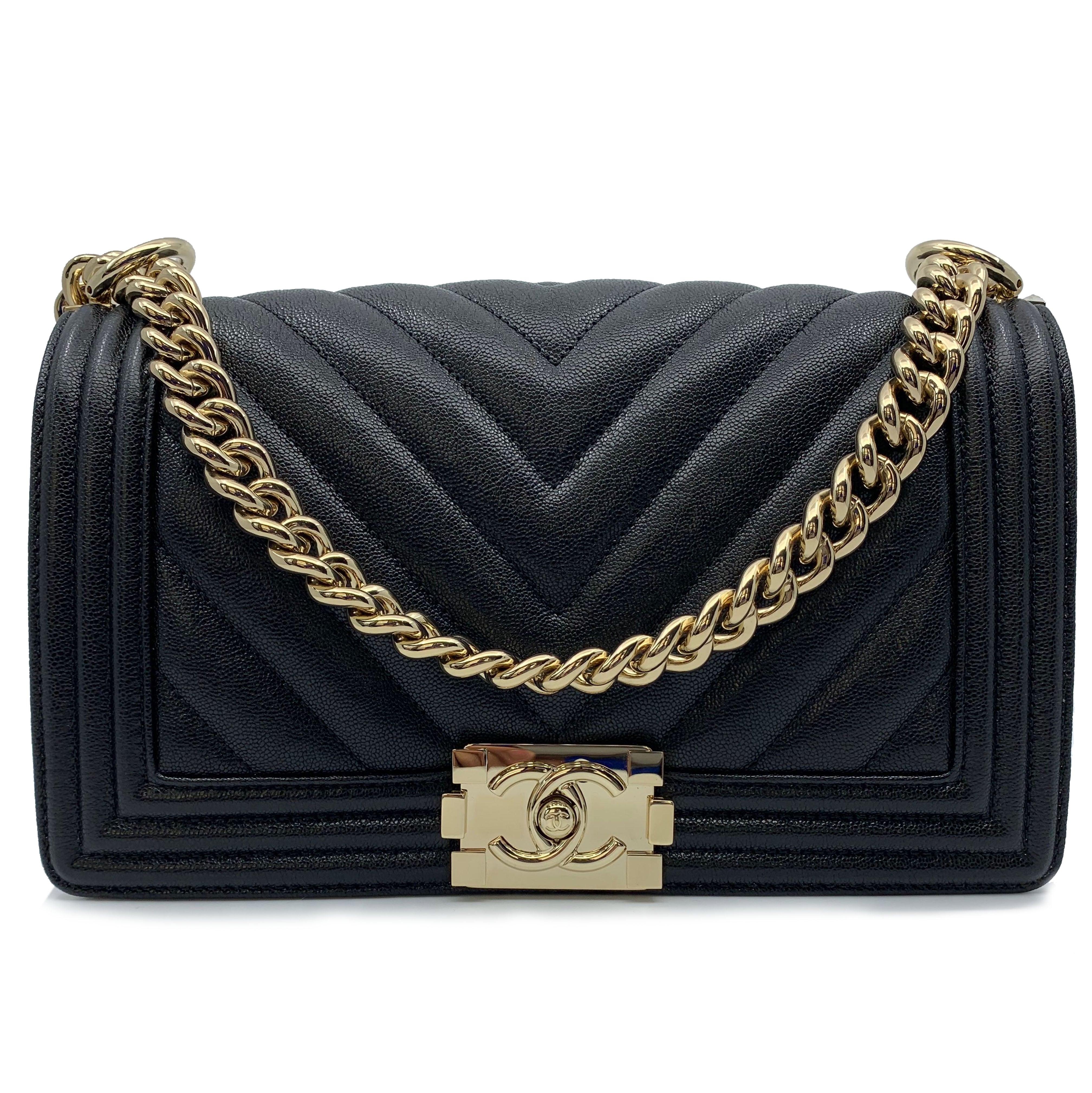 f02f87aab5f6 Chanel Caviar Chevron Quilted New Medium Boy Flap Black A67086 For Sale at  1stdibs