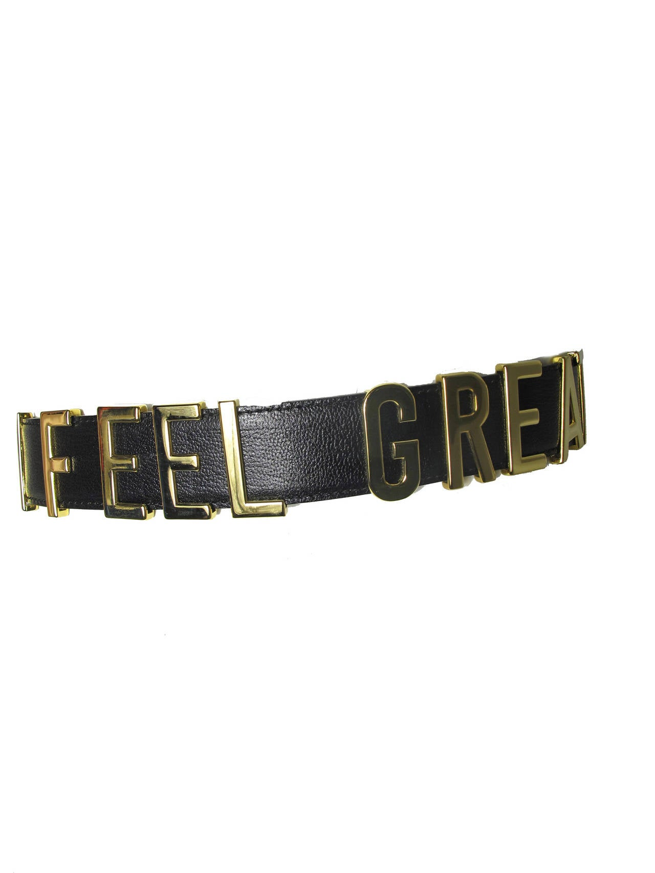 "Rare Moschino 1990s ""I FEEL GREAT"" Moveable Letters Waist Belt - small For Sale 1"
