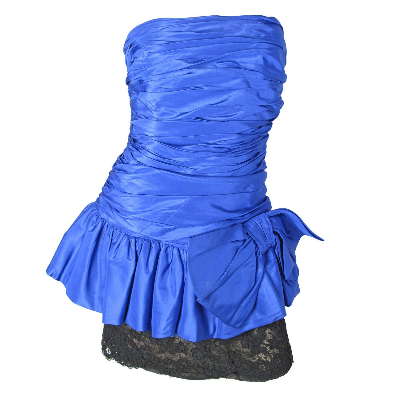 Oscar de la Renta blue taffeta and black lace strapless dress For Sale