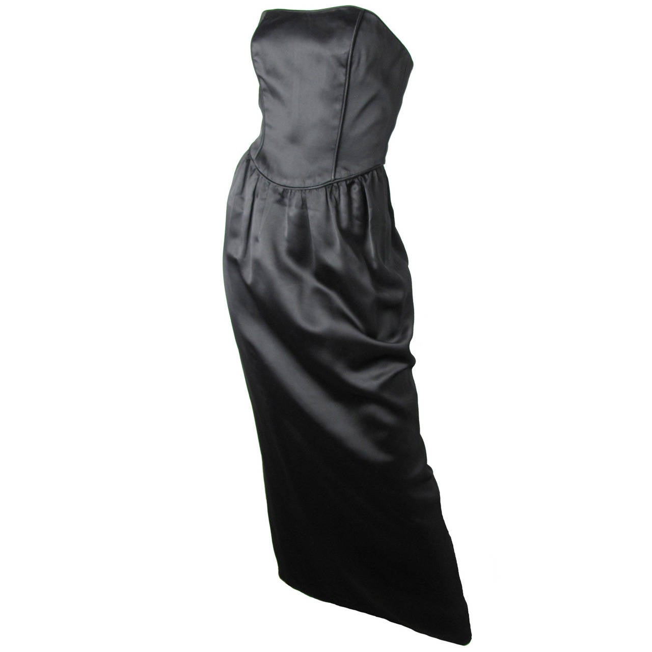 Roland Klein black strapless dress with black and white striped train