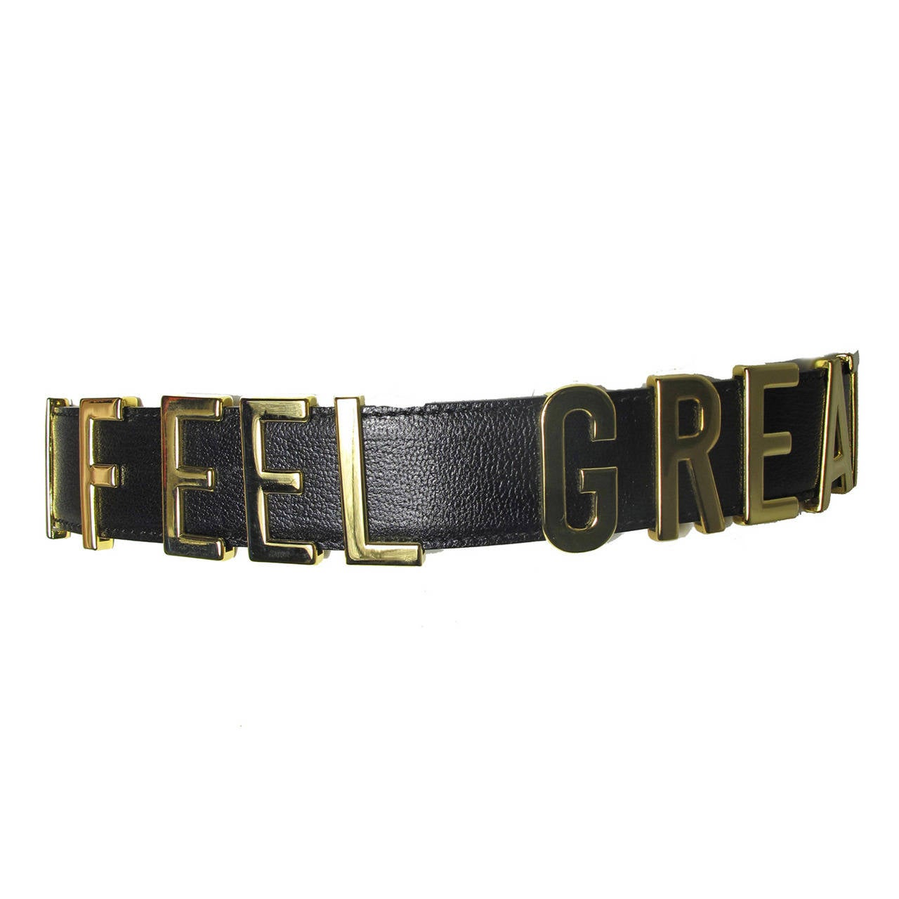 "Rare Moschino 1990s ""I FEEL GREAT"" Moveable Letters Waist Belt - small For Sale"