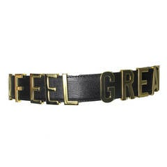 "Rare Moschino 1990s ""I FEEL GREAT"" Moveable Letters Waist Belt - small"