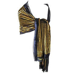 1980s Chloe Large Gold and Navy Wrap