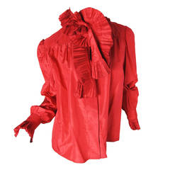 1980s Chloe red silk blouse with ruffled cuffs and collar