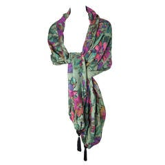 Large Ungaro floral shawl with tassels